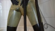 Tau latex Young latex fetish girl fully rubberized with pisspants and gasmask