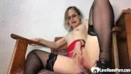 Teacher pets porn - Amazing teacher in stockings pleasures her juicy pussy
