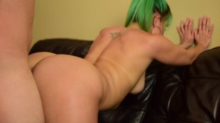 Blue hair PAWG gets pounded in doggystyle POV
