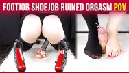 High heel abuse fetish Cockbox handjob torture high heels footjob with ruined orgasm era