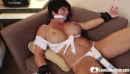 At home bondage toys Big tits stepmom gagged and pleasured by a toy