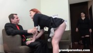 Free young old threesome video Redhead maid dusts old couple