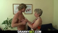 Old women sucking cock Big-cocked guy plays with her shaved snatch