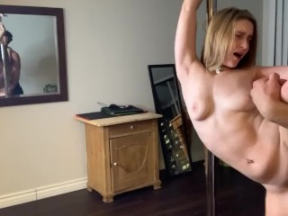 Cam Girl gets fucked on a stripper pole