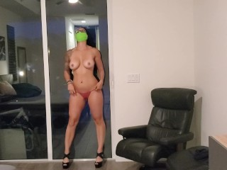 Fit milf strips for neighbors and gets fucked rough with anal, choked, slap