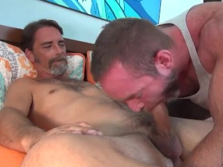 Hot Silver Daddy Hunks have a Raw Fuck Session.