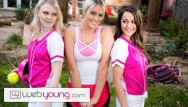 Young teen web site Lily raders softball training turns into hot teens threesome - webyoung