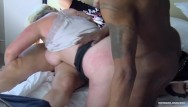 Motorhome swingers - Busty amateur fucking two dicks at once in interracial threesome