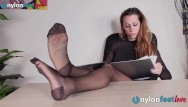 Nude women wearing pantyhose Sexy secretary wears rht glossy pantyhose to tease with her feet