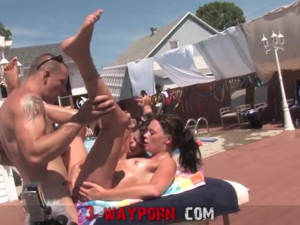 3-Way Porn – BGG Trio Outdoor Pool Fuck