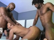CUTLER X, DEVIN TREZ & JACEN ZHU - UNCUT BLACK MONSTER COCK BAREBACK 3WAY