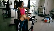Pantie and naked sex Risky no panties exercises at public residential gym naked gym workout: