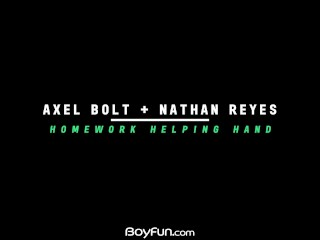 Boyfun – Hot Twink Nathan Reyes Takes A Ride On The Big Dick Of Axel Bolt