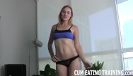 Eat your cum video Cei femdom and cum eating fetish videos