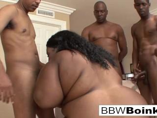 BBW Ebony gets DP'd in hardcore gangbang