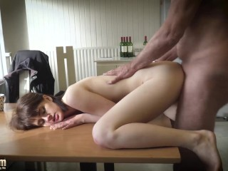 Hot Brunette Teen Takes Huge Load And Licks Her Lips After Getting Fucked