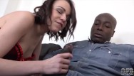 Wife fucking husband watches Brunette deepthroat black cock sloppy blowjob and facial cumshot with cuckold husband watching