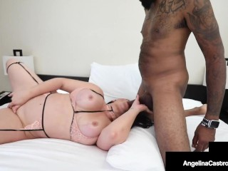 Nut Busting Cuban BBW Angelina Castro Milks A Big Black Cock & Gets Her Cum