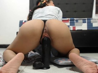 full video . First atempt riding monster  bbc dildo. my pussy is so streched