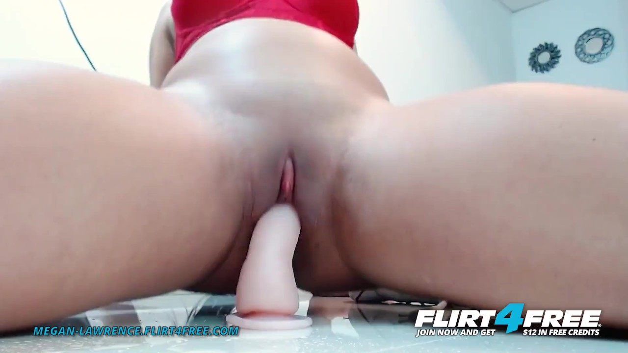 Flirt4Free - Megan Lawrence - Latina Squats and Plays with Her Big Toy on t ...