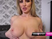British blonde MILF Georgie shows off her natural tits