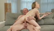 Hottie young fuck Daddy4k. elegant pale-skinned hottie gives bj and rides old phallus