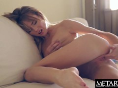 Watch her spread her puffy wet pussy wide open as she masturbates