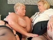 Round belly mature British blondes with dildos