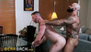 Gay hypno Uncut bear with beautiful beard pounds younger jock - bearback