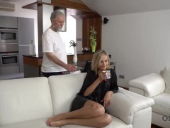 Old4k. Mind-blowing Gonzo Act By Nubile Blond And Grey-headed Man