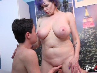 'Aged mature lady got fucked hardcore way by handy youngster'