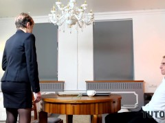 Tutor4k. Cougar Dressed In Official Suit Makes Junior Dude Go Horny About Fucking