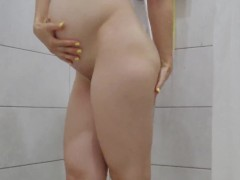 pregnant wife shows lactating tits and masturbate in shower