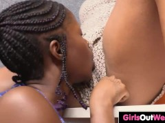 Lovely dark skinned girls pleasure each others asshole and unshaved pussy orally