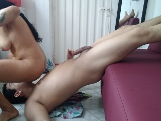 fucking sissy boy in amazon position until creampie he asked to eat his own cum directly from pussy