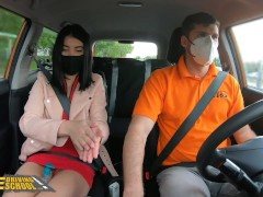 Fake Driving School Sexy Black Haired Lady Dee Sucks and Fucks her instructor