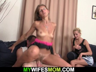 Old woman saddled her daughters husband's cock'