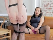 Hot lesbians striptease and masturbate each other
