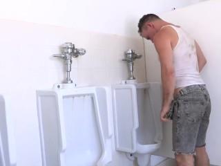 Trashy Men Sucking Big Cock At A Urinal