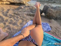 Amateur sloppy deepthroat on the beach with a huge cumshot | Big natural tits