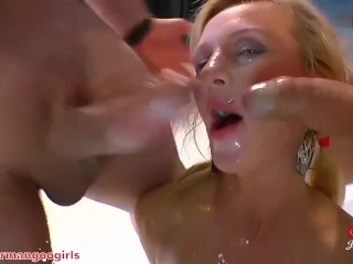 Two Hot Blonde Big Load Guzzlers Facial Cumpilation