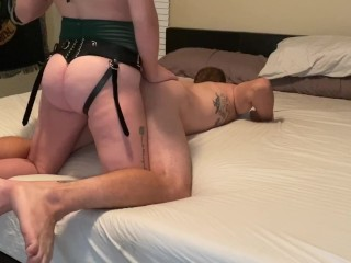 Husband Gets Pegged HARD Until He Cums