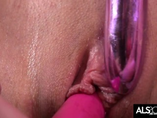 Naomi Woods Works Her Shaved Pussy with 2 Toys