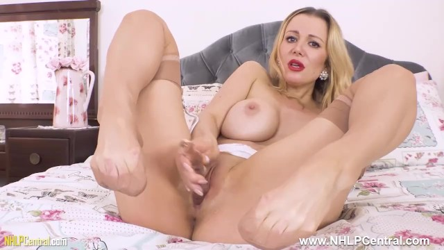 Pantyless In Nylons And Garters Big Boobs Blonde Lucy Alexandra Masturbates With Her Glass Toy
