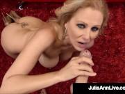Dick Sucking Mom Julia Ann Sucks A Fortunate Hard Cock & Gets Her Cum!