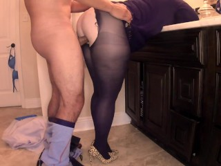 He wanted to have his way with me after work. He tore my pantyhose and fucked me hard!