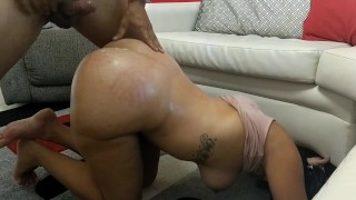 My Slut Wife Likes getting her Big Juicy Ass Spanked and Fucked Doggy Style on the Living Room Floor