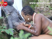 Ebony Milf enjoys riding the village deity