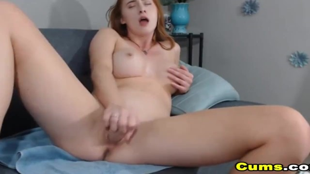 Pretty Busty Babe Sucks Toy and Inserts to her Cunt