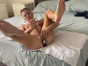 Johnny's toes curl back in pleasure as his prostate & cock get a whole new kind of workout